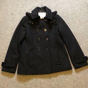 Calvin Klein black wool pea coat size 10